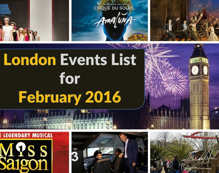 London Events List for February 2016
